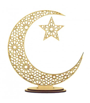 Laser Cut Arabic Moon on Stands with Hanging Star - 6MM
