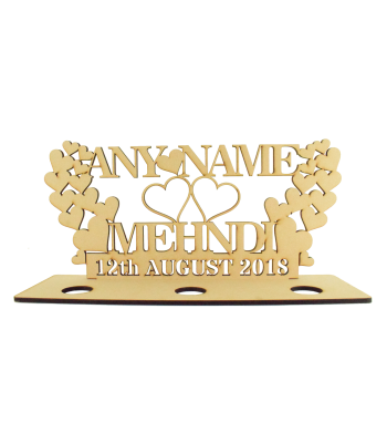 Laser Cut Personalised Tumbling Hearts Mehndi Sign with Name and Date on a Tealight Holder Stand - 6mm