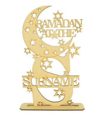 Laser Cut Personalised 'Ramadan at the...' Moon with Letter on a Stand