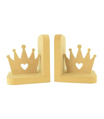18mm Freestanding MDF Princess Crown Shape Pair of Bookends