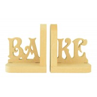 18mm Freestanding MDF 'BAKE' Letter Pair of Bookends