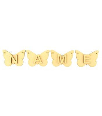Laser Cut Personalised Butterfly Bunting with Letters - (AR)