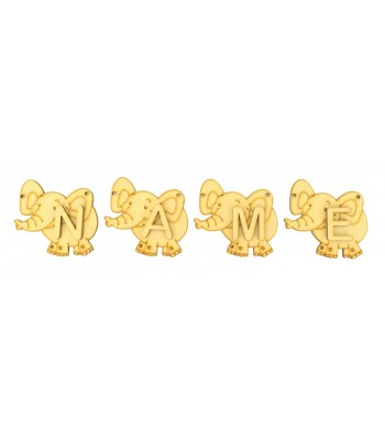 Laser Cut Personalised Elephant Bunting with Letters - (AR)