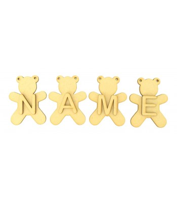 Laser Cut Personalised Teddy Bunting with Letters - (AR)