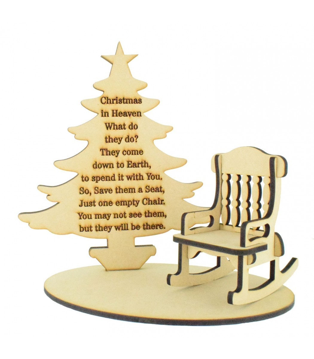 Christmas In Heaven What Do They Do.Laser Cut Christmas In Heaven Quote On A Stencil Plaque With Christmas Tree Rocking Chair And Base Set