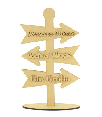 Laser Cut 6mm Alcohol Christmas Themed Direction Arrows on a Stand with 3mm Wording