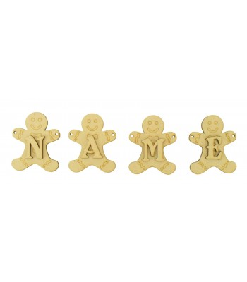 Laser Cut Personalised Gingerbread Man Bunting with Letters - (BEL)