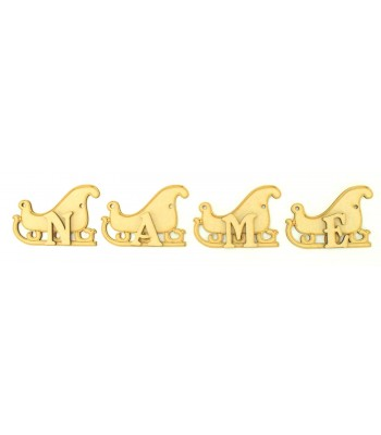 Laser Cut Personalised Christmas Sleigh Bunting with Letters - (BEL)