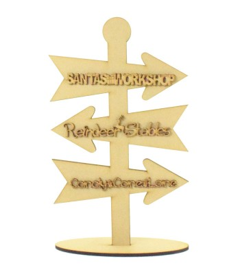 Laser Cut 6mm Christmas Themed Direction Arrows on a Stand with 3mm Wording