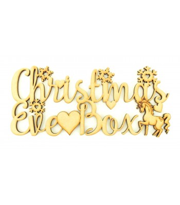 Laser cut 'Christmas Eve Box' Sign with Snowflakes, Stars and Unicorn