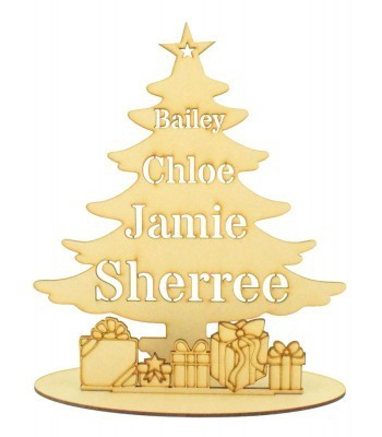 Laser Cut Personalised Stencil Tree with Presents in a Stand