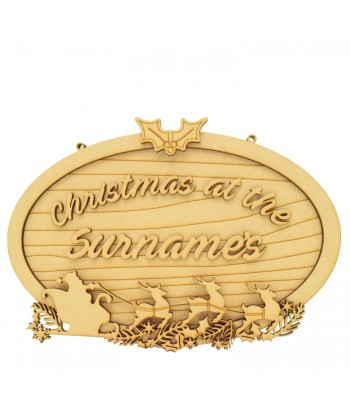 Laser Cut Personalised 'Christmas at the...' 3D Detailed Layered Oval Christmas Plaque - Size Options