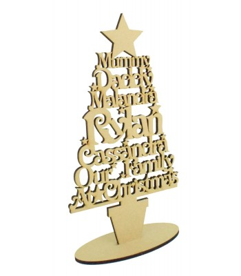 Laser Cut Personalised 'Our Family at Christmas' Tree on a stand