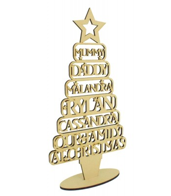 Laser Cut Personalised Family Christmas Tree on a stand - Names in Frames