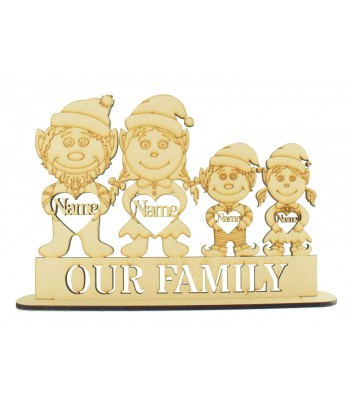 Laser Cut Personalised Christmas Elf Family on a Stand - 6mm