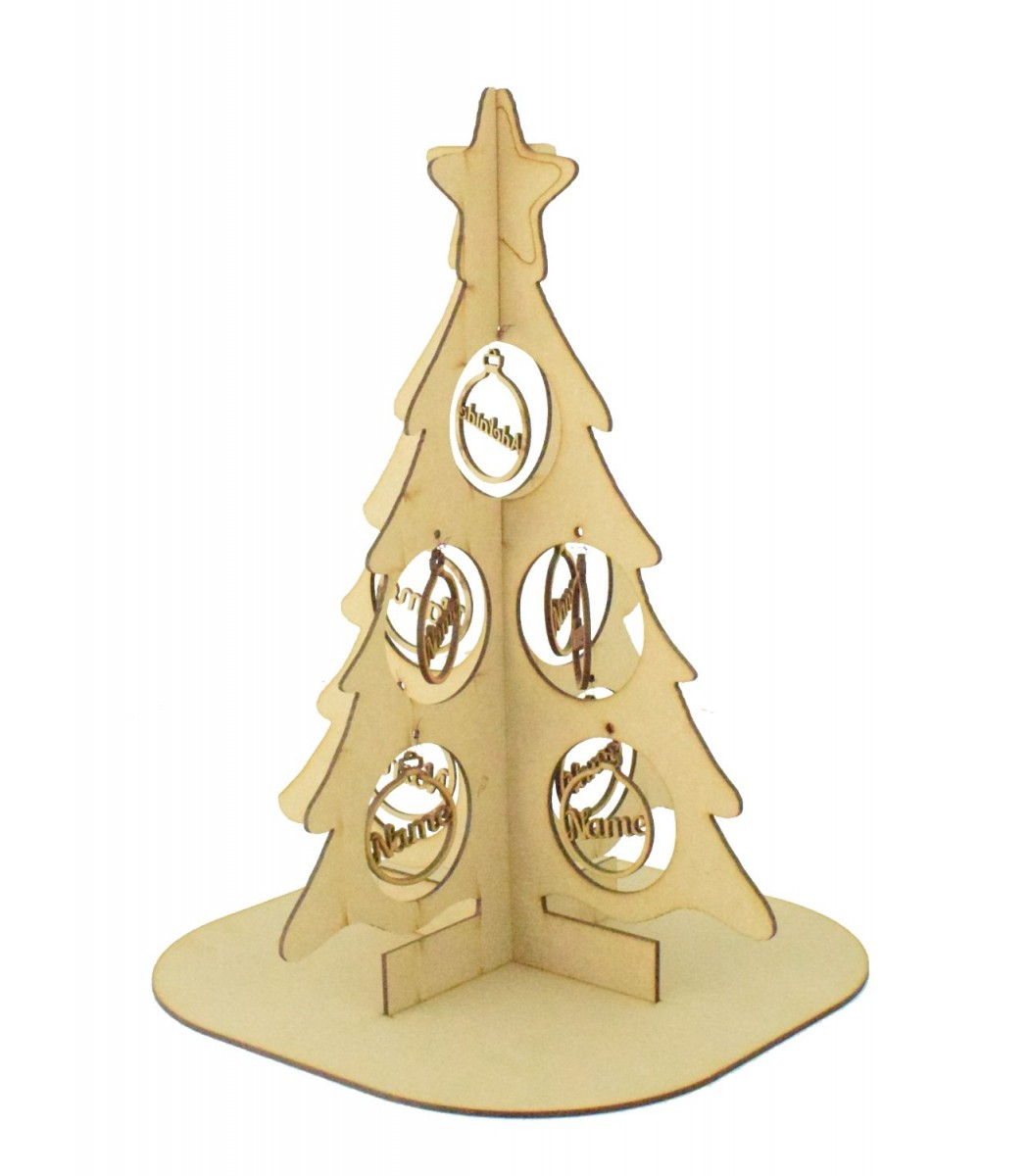 Laser Cut Double Family Christmas Tree On A Stand With Personalised Bauble Decorations 1 9 Names