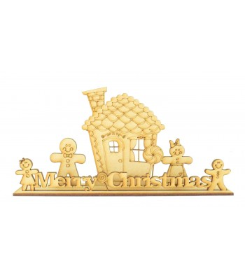 Laser cut Gingerbread Family 'Merry Christmas' Scene on a Stand