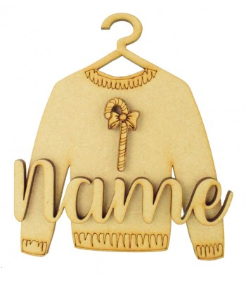 Laser Cut Personalised 3D Christmas Jumper Decoration - Candy Cane