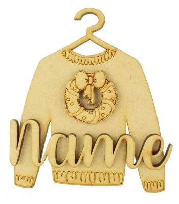 Laser Cut Personalised 3D Christmas Jumper Decoration - Christmas Wreath