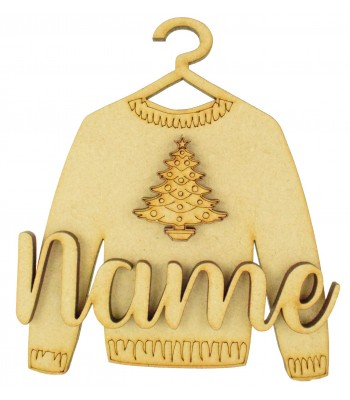 Laser Cut Personalised 3D Christmas Jumper Decoration - Christmas Tree
