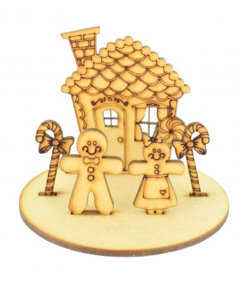 Laser Cut Miniature Detailed Christmas Gingerbread Family on stand