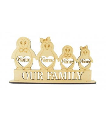 Laser Cut Personalised Christmas Penguin Family on a Stand - 6mm