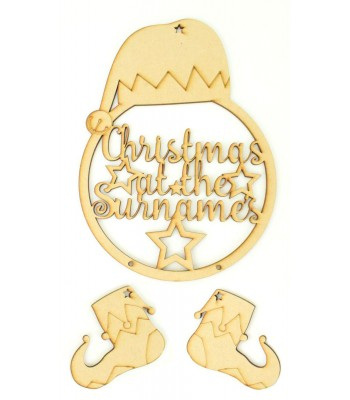 Laser Cut Personalised 'Christmas At The...' Elf Dream Catcher with Hanging Shoes