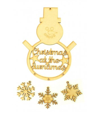 Laser Cut Personalised 'Christmas At The...' Snowman Dream Catcher with Hanging Snowflakes