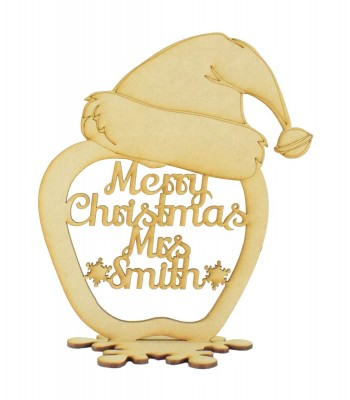Laser cut Christmas Personalised 'Merry Christmas' Teachers Apple in a Stand with a Santa Hat on Top