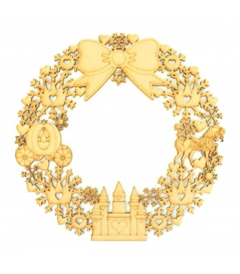 Laser Cut Detailed Princess Shapes and Snowflake Wreath