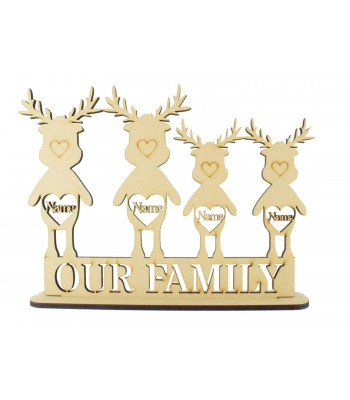 Laser Cut Personalised Christmas Reindeer Family on a Stand - 6mm