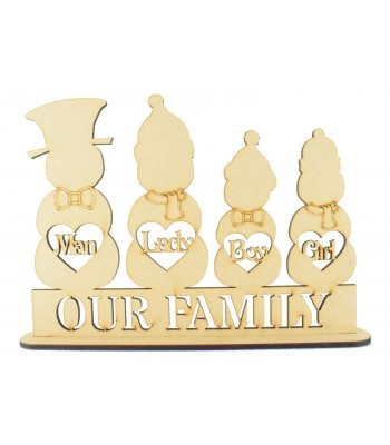 Laser Cut Personalised Christmas Snowman Family on a Stand - 6mm