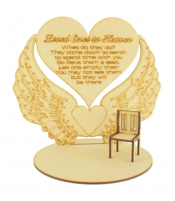 Laser Cut 'Loved Ones In Heaven' Angel Wings Plaque on a Stand with Miniature Chair