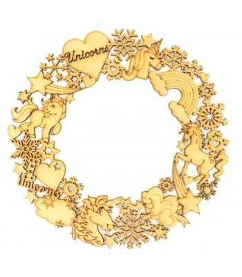 Laser Cut Detailed Unicorn and Snowflake Wreath