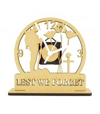 Laser Cut Mini 'Lest We Forget' Remembrance Clock on a Stand with Clock Mechanism - 6MM