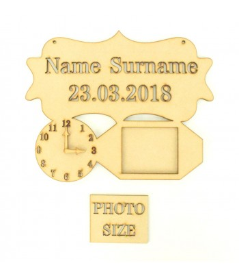 Laser Cut Personalised Stencil Plaque with Clock and Photo Frame