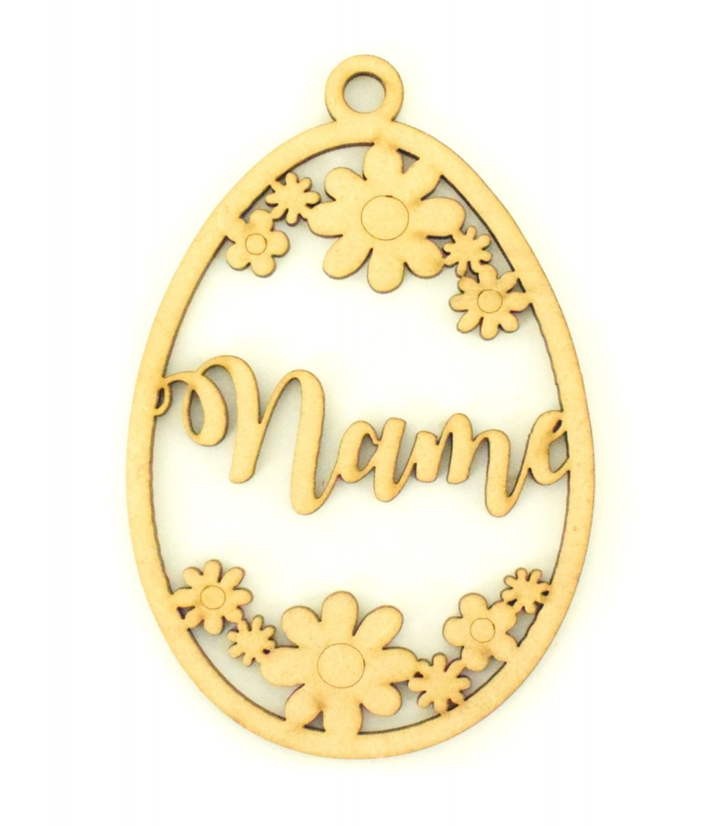 Laser Cut Personalised Easter Egg Frame With Flower Detail Easter Bauble Water Font