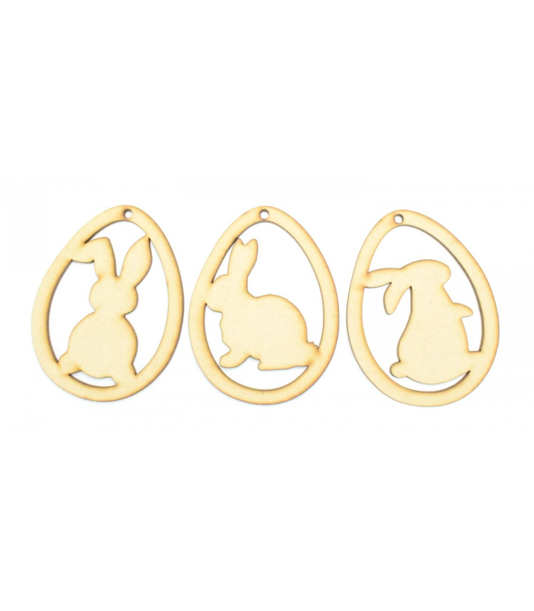 Laser Cut Easter Egg Decorations With Rabbit Silhouettes Inside Set Of 3