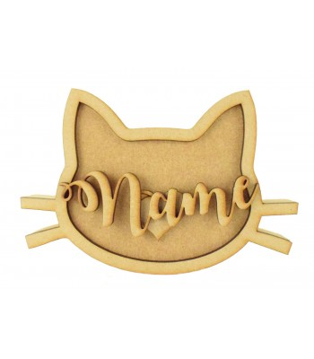 18mm Freestanding Cat Head Shape with 3D Laser Cut Accessories & Name