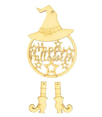 Laser Cut 'Happy Halloween' Witch Dream Catcher with Hanging Boots