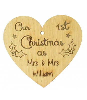 Laser Cut Personalised Oak Veneer Engraved Christmas Decoration - 'Our First Christmas as Mr & Mrs' Heart