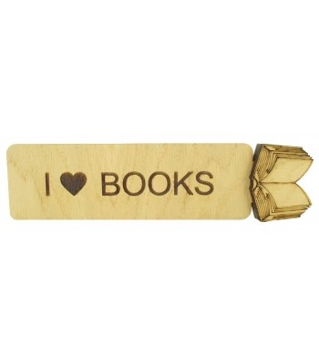Laser Cut Personalised Oak Veneer Bookmark with 3D Book Shape - Options Available