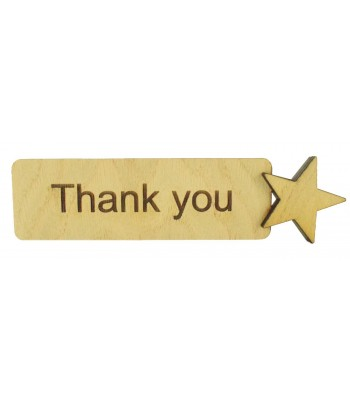 Laser Cut Personalised Oak Veneer Bookmark with 3D Star Shape - Options Available