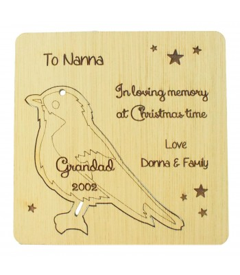 Laser Cut Oak Veneer Personalised Christmas Card with Pop Out Robin Christmas Tree Decoration