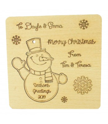 Laser Cut Oak Veneer Personalised Christmas Card with Pop Out Snowman Christmas Tree Decoration