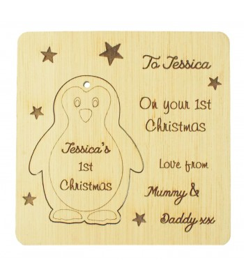 Laser Cut Oak Veneer Personalised Christmas Card with Pop Out Penguin Christmas Tree Decoration