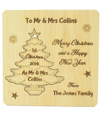 Laser Cut Oak Veneer Personalised Christmas Card with Pop Out Christmas Tree Decoration