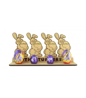 Laser Cut Oak Veneer Personalised Easter Bunny Family Holding Personalised Eggs on a Creme Egg Holder Stand