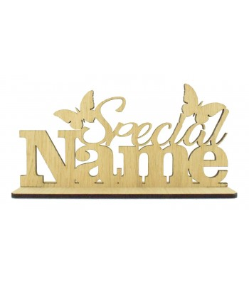 Laser Cut Oak Veneer Personalised 'Special...' Sign on Stand with Butterflies