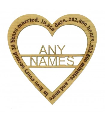 Laser Cut Oak Veneer Personalised 'Years. days. minutes... and more. in love every second' Wedding Anniversary Heart
